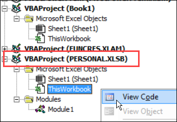 view code in personal workbook
