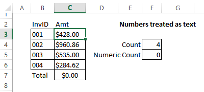 Excel Data Entry Fix Numbers Formatted as Text