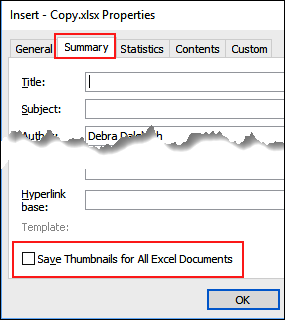 Excel Preview Picture Setting