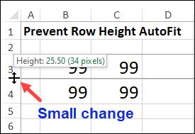 manually adjust row height