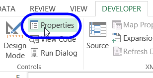 properties button on Developer tab