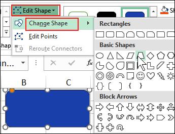 change shape on worksheet