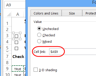 link check box to cell