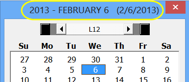 date picker title bar