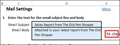 email subject line and body message