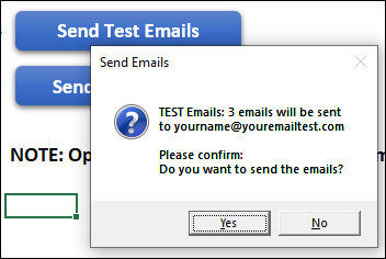test email confirmation message