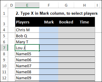 fill in player names