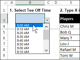 select tee off time