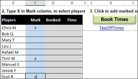 click the Book Times button