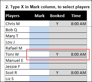 choose players for tee off time