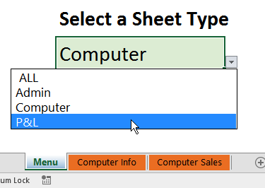 select sheets from drop down