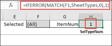 formula for selected sheet type number