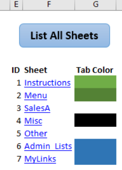 sheet list with tab colour