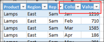change headings in unpivotted data