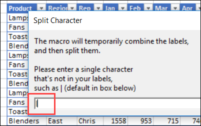 enter a separator character