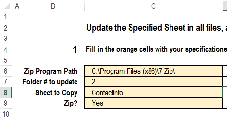 setup sheet with cells to fill in