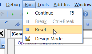 vba run reset