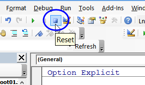 reset button on toolbar