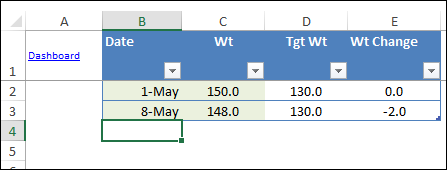 Excel weight tracking